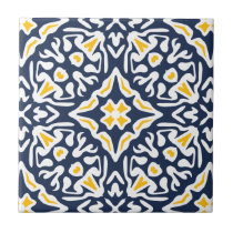 Navy and Yellow Mediterranean Pattern Tile