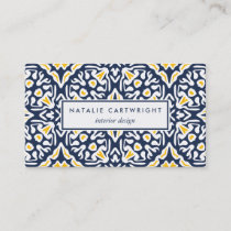 Navy and Yellow Mediterranean Tile Pattern Business Card