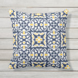 "Navy and Yellow Mediterranean Tile Pattern Throw Pillow<br><div class=""desc"">Add a summery Mediterranean twist to your poolside or patio decor with our chic Spanish tile patterned outdoor throw pillow in a traditional color palette of navy blue and sunny yellow. Pattern repeats on reverse side.</div>"