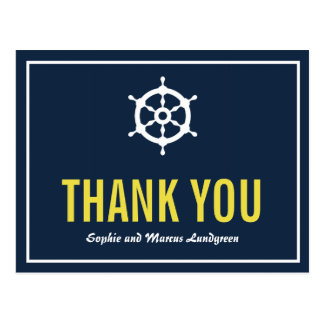 Navy and Yellow Nautical Helm Thank You Postcard