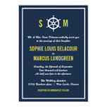 Navy and Yellow Nautical Helm Wedding Invitation