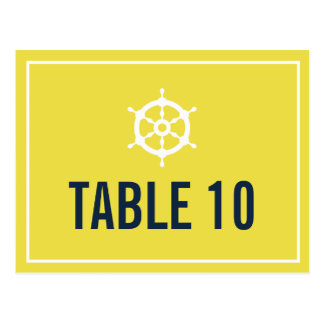 Navy and Yellow Nautical Table Number Postcard
