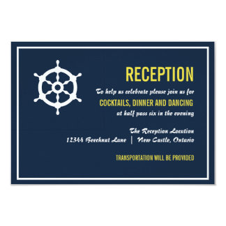 Navy and Yellow Nautical Wedding Reception Card