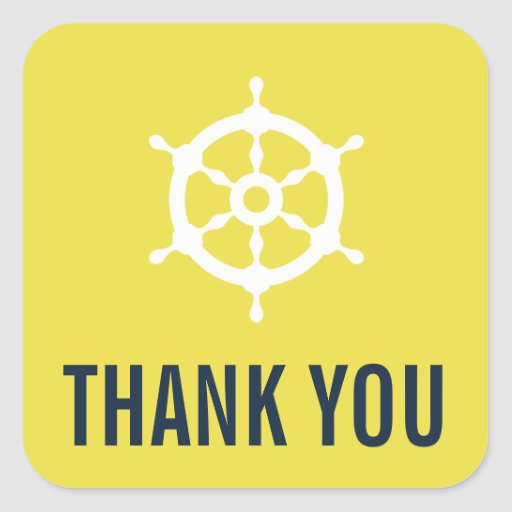 Navy and Yellow Nautical Wedding Thank You Sticker