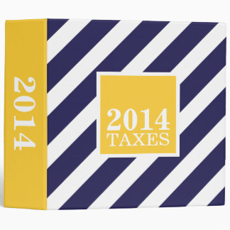 Navy and Yellow Preppy Stripes Tax File Binder
