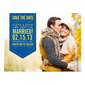 Navy and Yellow Save The Date Postcard