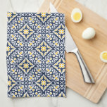 """Navy and Yellow Spanish Tile Pattern Towel<br><div class=""""desc"""">Our Spanish tile pattern towels are a beautiful addition to your Mediterranean style,  blue and white,  or beach house kitchen. Inspired by the traditional azulejo tiles of Spain and Portugal,  this intricately patterned design features a geometric design in coastal navy blue,  sunny golden yellow and crisp white.</div>"""