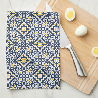 Navy and Yellow Spanish Tile Pattern Towel