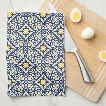Beach Themed Navy and Yellow Spanish Tile Pattern Towel