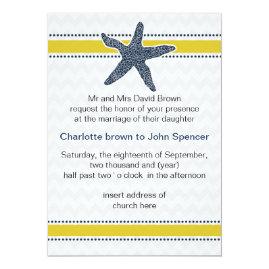 Navy and   Yellow Starfish Beach Wedding Invitations