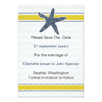 Navy and Yellow Starfish Beach Wedding Stationery Card