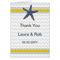 Navy and Yellow Starfish Beach Wedding Stationery Card