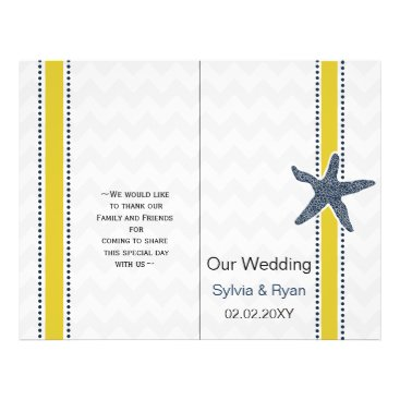 Navy and Yellow Starfish Beach Wedding Stationery Flyer