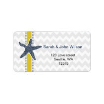 Navy and Yellow Starfish Beach Wedding Stationery Label