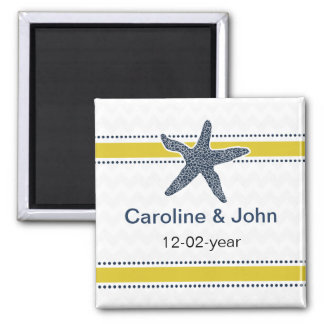 Navy and Yellow Starfish Beach Wedding Stationery Magnet
