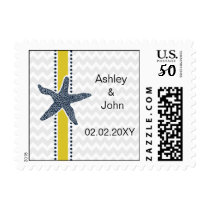 Navy and Yellow Starfish Beach Wedding Stationery Postage