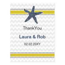 Navy and Yellow Starfish Beach Wedding Stationery Postcard