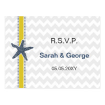 Navy and Yellow Starfish Beach Wedding Stationery Postcard