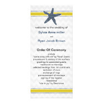 Navy and Yellow Starfish Beach Wedding Stationery Rack Card
