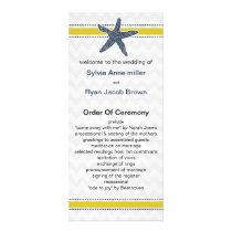 Navy and Yellow Starfish Beach Wedding Stationery Rack Card