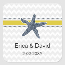 Navy and Yellow Starfish Beach Wedding Stationery Square Sticker