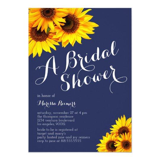 5f2da6c5be60 Navy and Yellow Sunflowers Bridal Shower Invitation