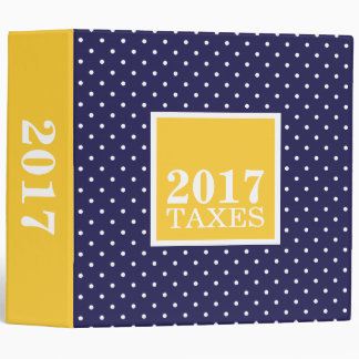 Navy and Yellow Tiny Dots Tax Storage Binder