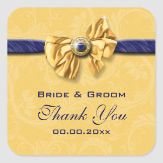 "navy and yellow wedding ""thank you"" square stickers"