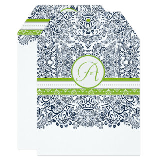 Navy Apple Green Gray Love Birds Wedding Invites