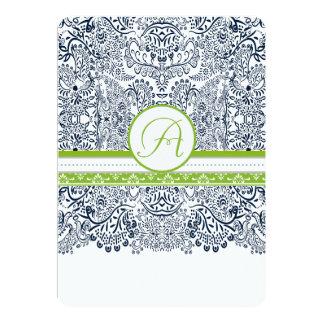 "Navy Apple Green Gray Love Birds Wedding Invites 5"" X 7"" Invitation Card"