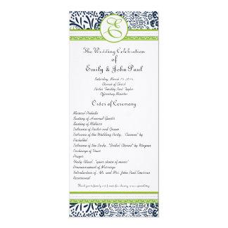 Navy Apple Green Gray Love Birds Wedding Programs