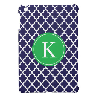 Navy Apple Green Moroccan Pattern Monogram Cover For The iPad Mini