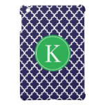Navy Apple Green Moroccan Pattern Monogram iPad Mini Case
