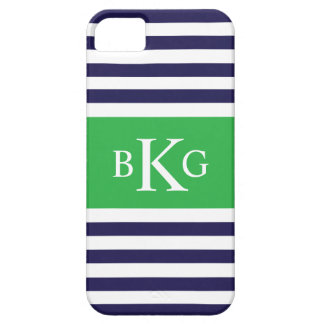 Navy Apple Green Stripes Monogram iPhone 5 Covers