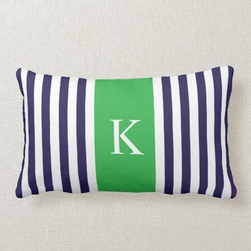 Navy Blue And Green Throw Pillows : Navy Apple Green Stripes Monogram Throw Pillows Zazzle
