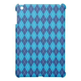 Navy Aqua Blue Argyle Plaid Pattern iPad Mini Cover