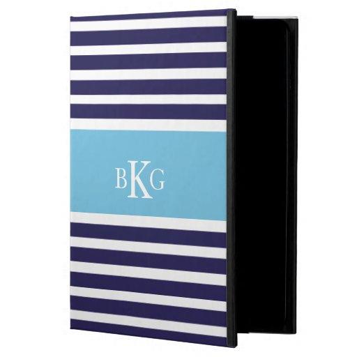 Navy Aqua Blue Stripes & Monogram Case For iPad Air