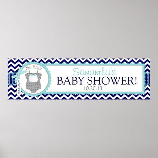 Navy Aqua Bow Tie Chevron Print Baby Shower Banner