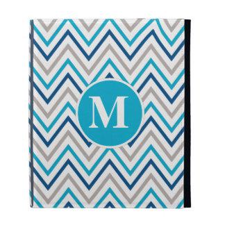 Navy Aqua Grey Chevron Cases iPad Folio Covers