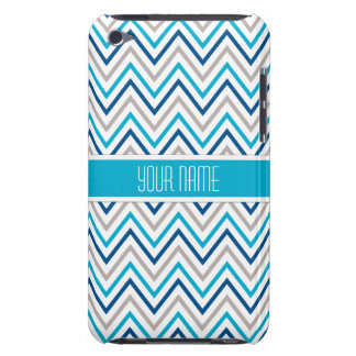 Navy Aqua Grey Chevron Cases Barely There iPod Covers
