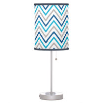 Navy Aqua Grey Chevron Zigzag Pattern Table Lamp
