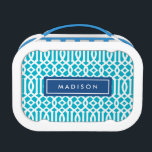 """Navy &amp; Aqua Trellis   Personalized Lunch Box<br><div class=""""desc"""">Lunch time is even sweeter with a customized Lunch Box made specially for them! Easily customize the Text, Font, Font Color and Background color! To customize your lunch box, simply click on the &quot;Customize it&quot; button and select your background color from the swatches or select the font icon to change...</div>"""