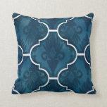 Navy Arabesque IKAT Damask Moroccan Tile Pattern Throw Pillow
