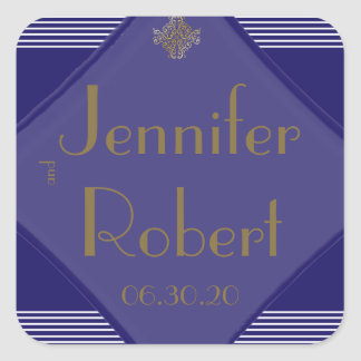 Navy Art Deco Posh Wedding Envelope Seal Square Sticker