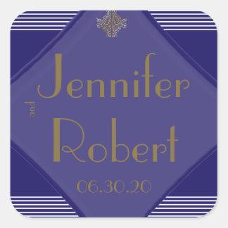 Navy Art Deco Posh Wedding Envelope Seal Stickers