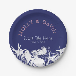 Navy Artsy Beach Seashells Personalized Party Paper Plate