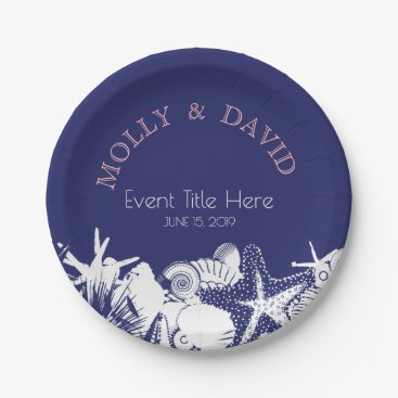 Beach Themed Navy Artsy Beach Seashells Personalized Party Paper Plate