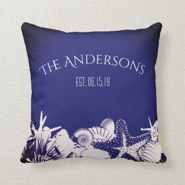 Beach Themed Navy Artsy Seashells Beach Home Personalized Throw Pillow