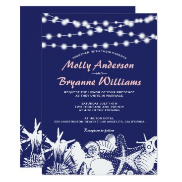 Beach Themed Navy Artsy Seashells String Lights Beach Wedding Card