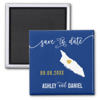 Navy Aruba Wedding Save the Date Map Magnet